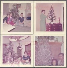 Lot of 4 Vintage Photos Family w/ Silver Christmas Tree in Home Interior 749205