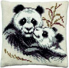 Kissen Stickpackung Sticken 40x40 cm Kreuzstich Panda Pandas Pandabär Pandabären