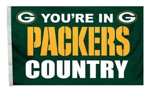 FLAG 3X5 Green Bay 3 x 5 Banner You're In Packers Country New Man Cave USA