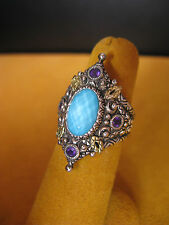 BARBARA BIXBY TURQUOISE DOUBLET AMETHYST RING SIZE 6 SS 18K Gift