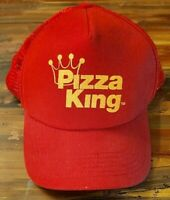 Vintage Pizza King Trucker Hat Snapback - Mesh - Red and Yellow - Foam