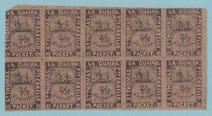 LA GUAIRA 1868 BLOCK OF 10 - 5 DIFFERENT POSITIONS MNH **   CERTIFICATE CV $6500