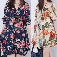 Women Flower Long Sleeve Loose Dress V-Neck Linen Cotton Dress Maternity Dress