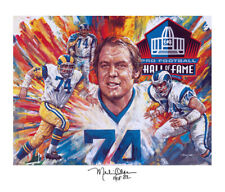 Autographed MERLIN OLSEN Lithograph Pro Football Los Angeles Rams