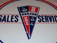 """VINTAGE HUDSON SALES & SERVICE 11 3/4"""" PORCELAIN METAL CAR, GASOLINE & OIL SIGN!"""