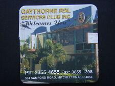 GAYTHORNE RSL SERVICES CLUB 534 SAMFORD MITCHELTON 33554655 SMALL YELLOW COASTER