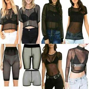 Women Fishnet Full Mesh Insert Cycling Short Hot Pants Ladies Bodysuit Crop Top