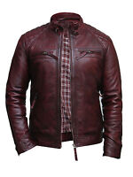 Brandslock Mens Leather Biker Jacket Genuine Lamb Skin Vintage