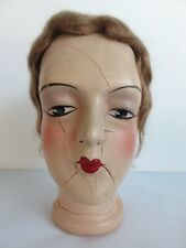 Antique Composition Art Deco Style Boudior Bed Doll Head Only Mohair Wig - Cool