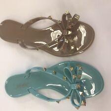 Jelly Flat flip flop sandal Studded bow Sandals