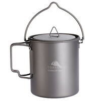TOAKS Titanium Camping Cookware Outdoor Hanging Pot with Bail Handle 750ml