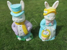 Large Easter Bunny Rabbits Blow Mold Lighted Lawn Decor Mr & Mrs Pair Set
