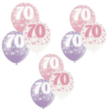 "Pack of  6 Unique 12"" Latex Glitz Pink 70th Birthday Balloons 2 of each Colour"