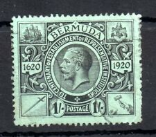 More details for bermuda kgv 1921 1/- black green sg#73 good used ws13372