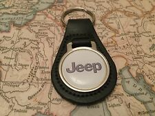 JEEP Quality Black Real Leather Keyring WRANGLER GRAND CHEROKEE RENEGADE