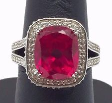 Sterling 925 Faceted Pink Tourmaline CZ Rectangle Halo Split Band Cocktail Ring