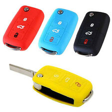 Silicone Folding Key Cover 3 Buttons Remote Control Protector Case Fob for VW
