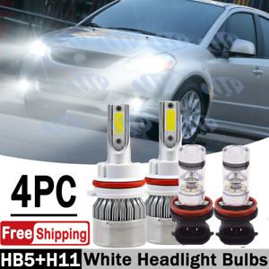 For Suzuki SX4 2007-2013 4x Combo 9007 & H11 LED Headlight Fog Light White Bulbs