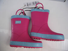 BNWT Little Girls Sz 11 Quality Rivers Doghouse Brand Cute Pink/Aqua Gumboots