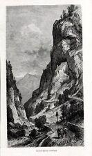 Stampa antica CISMON del GRAPPA Fortificazione del COVOLO Vicenza 1880 Old Print