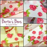 Bertie's Bows Rose Floral Print Grosgrain Ribbon, 16mm & 25mm - Multi Buy Saving