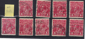 1d red KGV heads, single line perf, 9 examples, fine used