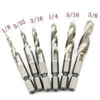 6Pcs/set 1/4 Hex Shank High Speed Steel Spiral Screw Thread Taps Drill Bit Tool