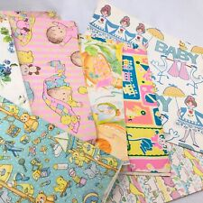 Vintage Lot Of Baby Shower Wrapping Paper Crafting Party Scrapbook
