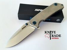 SRM Knives 9008 Flipper Folding Pocket Knife FrameLock Drop Point Sandvick 12c27