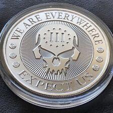 Punisher Deuce Skull Headstamp 1 oz .999 Silver Medal 3 Percenter 2nd Amendment