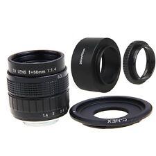 FUJIAN 50mm f/1.4 C Mount CCTV f1.4 Lens + Lens Hood+Macro Ring for SONY E Mount