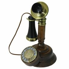 Telefono Fisso Vintage da Legno Metallo Antico retrò con Cavo e Disco da Misura