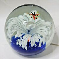 Vintage Hand Blown Art Glass Butterfly Paperweight W Control Bubble Large Size