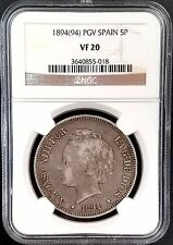 1894(94) PGV 5 Pesetas silver coin from Spain graded VF 20 by NGC!