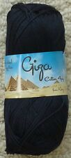 King Cole Giza 100 Egyptian Mercerised Cotton 4 Ply Knitting/ Crochet 50g Ball 2201 Black