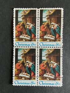 US Stamp 6 cent Christmas Nativity SC# 1414 Precanceled Block of 4 MNH 1970