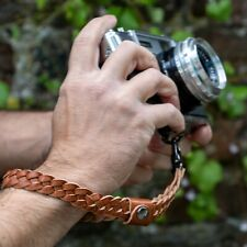 Braided leather camera wrist strap