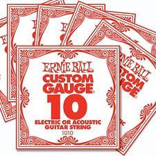 Confezione da 6 ERNIE Ball custom gauge 10's Guitar Stringhe singola Elettrica / Acustica