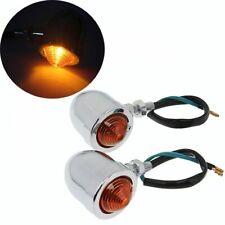 Pair Chrome Motorcycle  Motorbike Bullet Rear Turn Signal Indicator Amber Lights