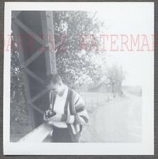 Vintage Snapshot Photo Young Man College Boy w/ Photography Camera 703570