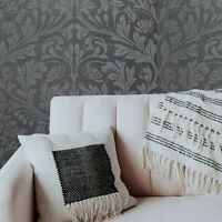 Floral Damask Glassbeads textured charcoal gray silver Metallic lines Wallpaper