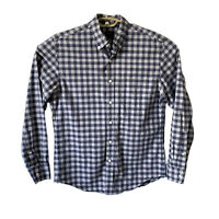 J Crew Mens M Button Front Shirt 100% Cotton Blue and Gray Gingham Plaid