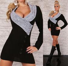 Sexy Strick Long Pullover Mini Kleid Gr. 34 - 38 One Size Schwarz