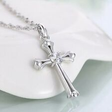 Women's 925 Sterling Silver Cross Crucifix Crystal Pendant Necklace 18