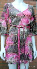 stunning Per una floral print stretch lace dress 10  pink brown new with tags