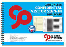 Cherry NCR Confidential Visitor Sign in Duplicate Wiro Book A4 50 Sets GDPR