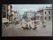 Suffolk IPSWICH The Cornhill shows Trams & Animated Street Scene - Old Postcard