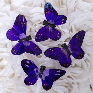 "2.75"" Artificial Decorative Dark Purple Feather Butterflies - 12pcs Butterfly"