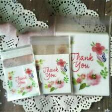 100Pcs Self-Adhesive Seal Thank You Plastic Bag Cookie Package Candy Gift Bags