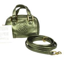 Auth LOEWE Logos 2Way Shoulder Bag Pouch Leather Green Spain Vintage 09K371